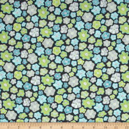 Contempo Meadow Dance Little Flowers Grey Fabric