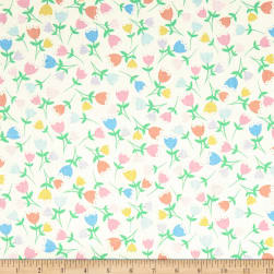 Kanvas Love Bunny Tossed Tulip White Fabric
