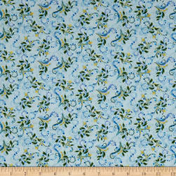 Hydrangea Blue Colorful Scroll Light Blue Fabric