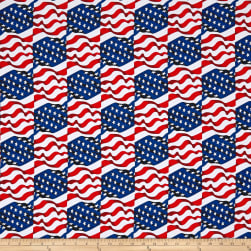 Kanvas Simply American Star Spangled Wave White Fabric