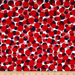 Kanvas Simply American Dots on Stripes Red Fabric