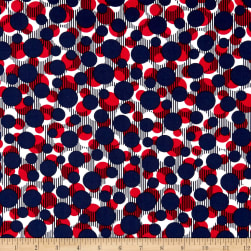 Kanvas Simply American Dots on Stripes Navy Fabric