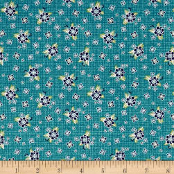 Contempo Gloaming Posy Turquoise Fabric