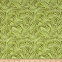 Cat-I-tude Beaded Swirls Tonal Green Fabric
