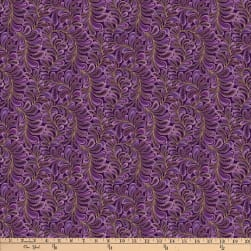 Cat-I-tude Feather Frolic Metallic Purple Fabric