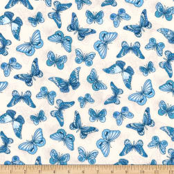 Kaufman London Calling Lawn Blue Butterflies Fabric