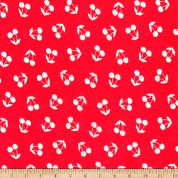 Kaufman London Calling Lawn Red Cherries Fabric