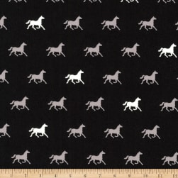 Kaufman London Calling Lawn Black Horses Fabric