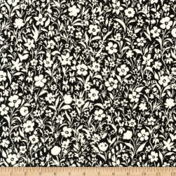 Kaufman London Calling Lawn Black Flowers Fabric