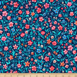 Kaufman London Calling Lawn Navy Flowers Fabric
