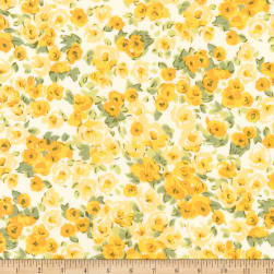 Kaufman London Calling Lawn Yellow Flowers Fabric