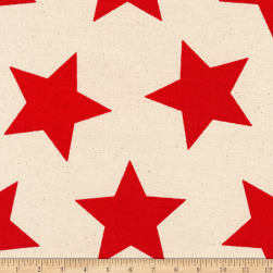Kaufman Sevenberry Canvas Prints Red Stars Fabric