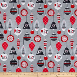 Let It Snow Peace and Joy Grey Fabric
