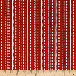 Contempo Let It Snow Dotted Stripe Red Fabric