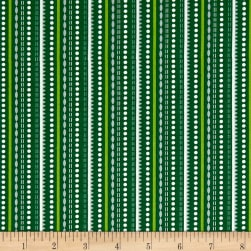 Contempo Let It Snow Dotted Stripe Green Fabric
