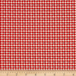 Let It Snow Houndstooth Red Fabric