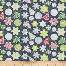 Let It Snow Cookies Dark Grey/Multi Fabric
