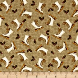 Winter Wonderland Skating Holiday Natural Fabric
