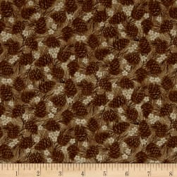 Winter Wonderland Pine Cones Tonal Brown Fabric