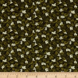 Winter Wonderland Holly & Berries Green/Natural Fabric