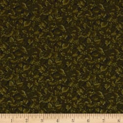 Winter Wonderland Holly & Berries Tonal Green Fabric