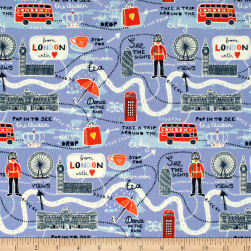From London with Love Map Lavender Fabric