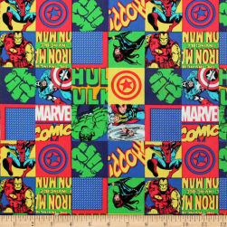 Marvel Avengers Unite Hero Blocks Multi Fabric