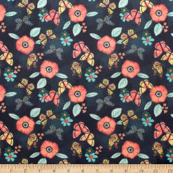 Monarch Grove Flowers Blue Nights Fabric