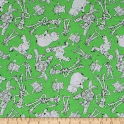 Disney Pixar Mini Color-Me Characters Outlined Green Fabric