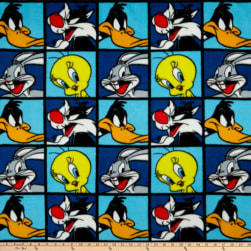 Looney Tunes Characters Fleece Blocks Blue