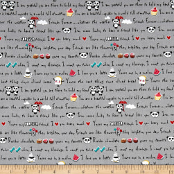 Riley Blake Panda Love Panda Words Gray Fabric