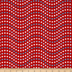 Riley Blake Patriotic Picnic Wave Red Fabric
