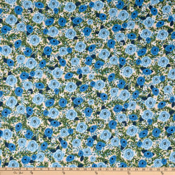 Kaufman Laguna Jersey Knit Prints Blue Flowers Fabric