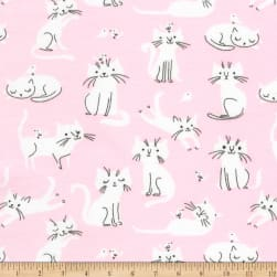 Kaufman Laguna Jersey Knit Prints Pink Cats Fabric