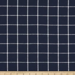 Kaufman Essex Yarn Dyed Classic Wovens Linen Check Indigo Fabric