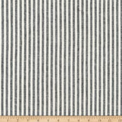 Kaufman Essex Yarn Dyed Classic Wovens Linen Stripes Black Fabric