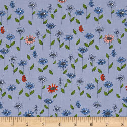 Penny Rose Monday, Monday Blooms Blue Fabric