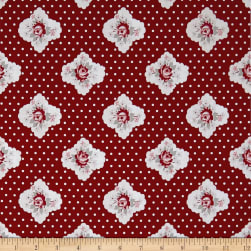 Penny Rose Rustic Romance Rustic Cameo Red Fabric