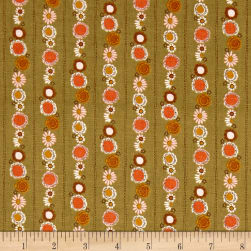 Riley Blake Guinevere Daisy Chain Stripe Green Fabric