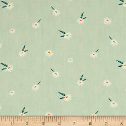 Art Gallery Campsite Dancing Daisies Teal Fabric