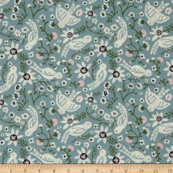 Birch Organic Folkland Sweet Tweet In Mineral Poplin