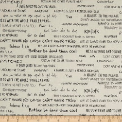 The Good Life Phrases Parchment/Black Fabric