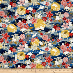 The Moon Rabbit Oriental Floral Blue/Multi Fabric