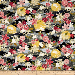 The Moon Rabbit Oriental Floral Gray/Multi Fabric