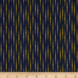 The Moon Rabbit Moon Phases Stripe Navy/Beige Fabric