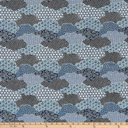 The Moon Rabbit Oriental Abstract Garden Blue Fabric