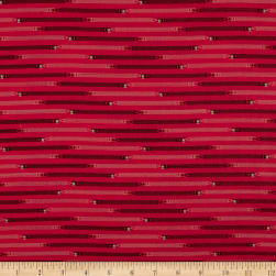 Ring Ring Pencil Stripe Raspberry Fabric