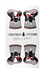 Red + Grey Christmas Stocking 24'' Panel Grey/Red