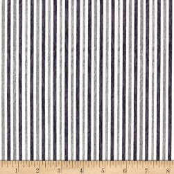 Red + Grey Christmas Stripe Grey/White Fabric