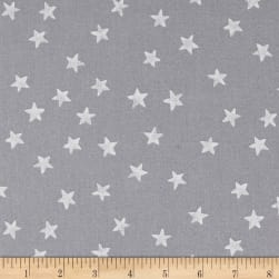 Red + Grey Christmas Stars Grey/White Fabric
